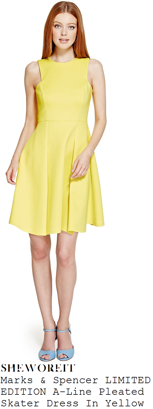 rochelle-humes-bright-yellow-sleeveless-pleated-skater-dress-this-morning