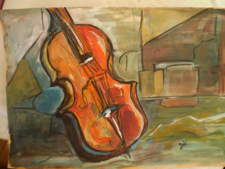 The violin, watercolor, signed Joli, A4