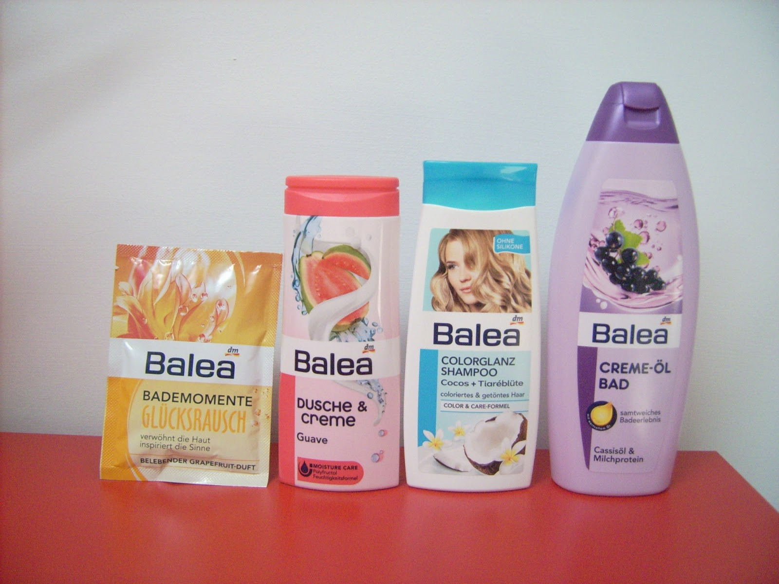 grapefruit bath salt balea, guava shower gel balea, coconut shampoo balea, bubble bath blackcurrant balea.