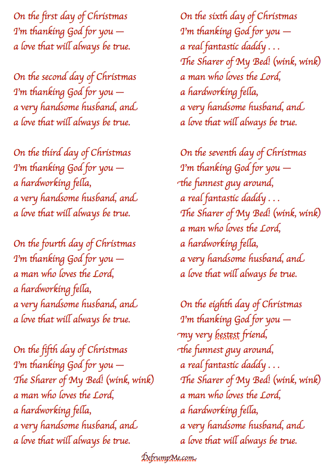 Defrump Me: The 12 Days of Christmas {love notes for your spouse)