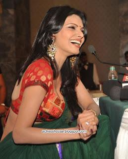 Sherlyn Chopra saree navel show PressMeet