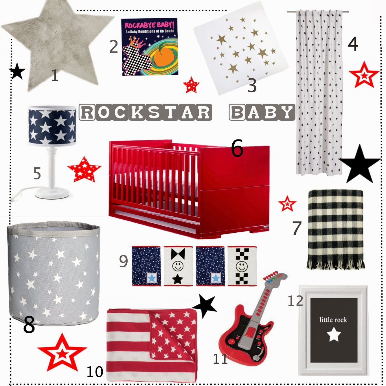 mamasVIB | V. I. BUYS: A rockstar nursery fit for Gwen Stefani's third baby boy Apollo…from £1.99, baby bedroom, celebrity baby, get the look, Gwen Stefani, nursery buys, nursery looks, nursery style, rockstar baby, V. I. BUYS,
