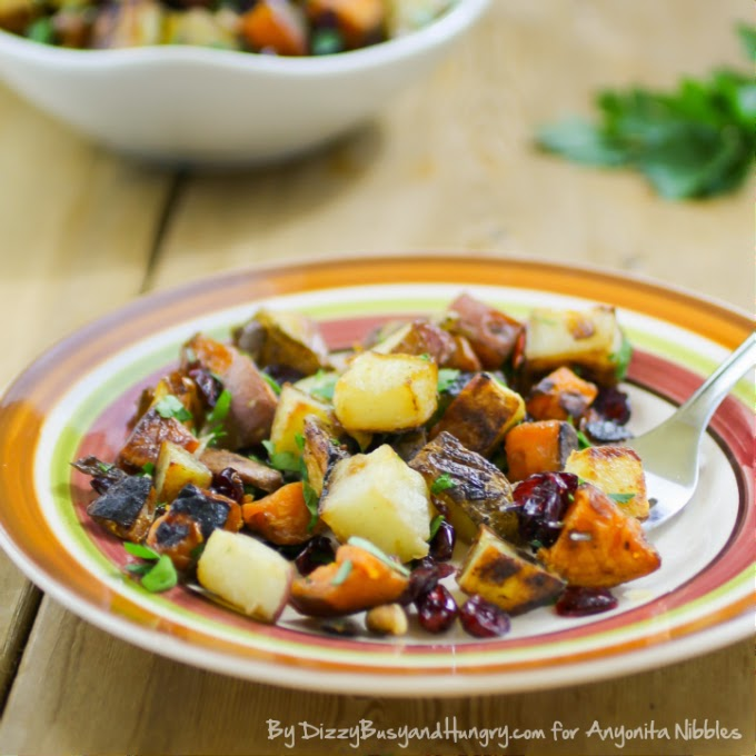 A serving of roasted potatoes with cranberries and pecans from Dizzy, Busy & Hungry for Anyonita-nibbles.co.uk