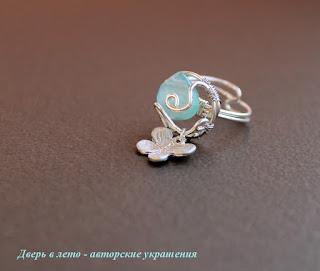 кольцо с халцедоном, кольцо ручной работы