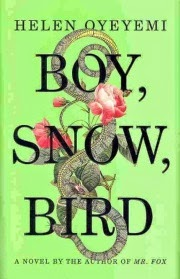 Cover art for Boy Snow Bird, featuring a vintage-style illustration of a yellow and grey snake twined through the title. Pink roses, green leaves, and a brown mouse surround the snake. The cover's background is leaf green.