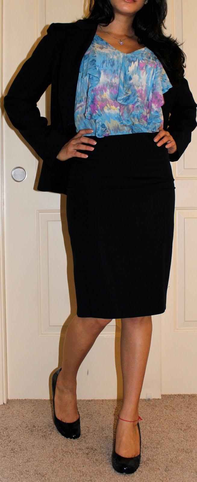 Skirt Suit on Petite Blogger