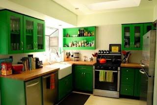 2011 green modern kitchen cabinets