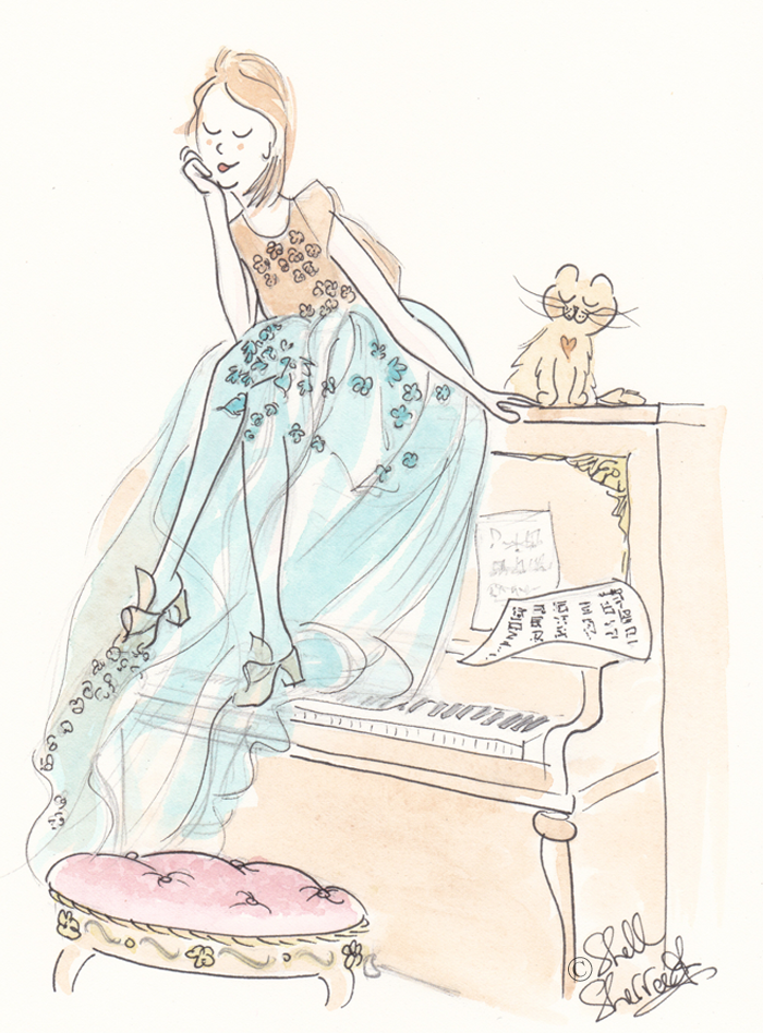 fashion illustration, Shell Sherree illustration, cat illustration, Kittens on the Keys,