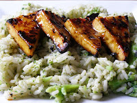 Sticky Lime and Chilli Tofu with Broccoli Rice