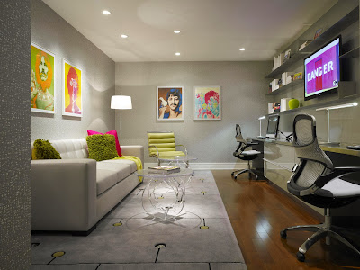 chic and cool study room in modern style embraced by pops of color