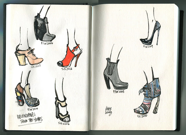 sketch illustration of Balenciaga shoes in ink and gouache in moleskine notebook.