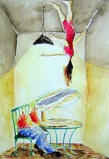 Boceto acuarela para el cuadro Cada uno su razón, obra original de Juan Sánchez Sotelo. Acrílico y técnica mixta sobre madera. Artistas6 academia de dibujo y pintura de Madrid. Clases y cursos para aprender a dibujar y pintar. Venta de obra original abstracta y figurativa.