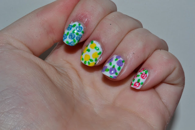 Colorful Flower Nail Art by Elins Nails