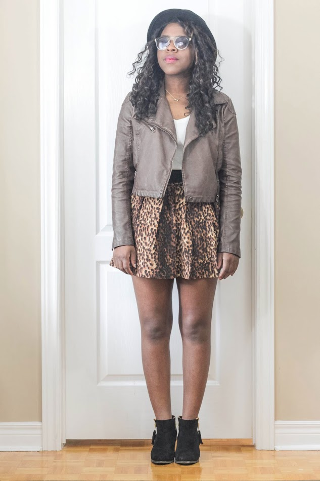 leopard skirt, leather jacket, canadian fashion blogger, african american fashion blogger, personal style, cosmo blog awards