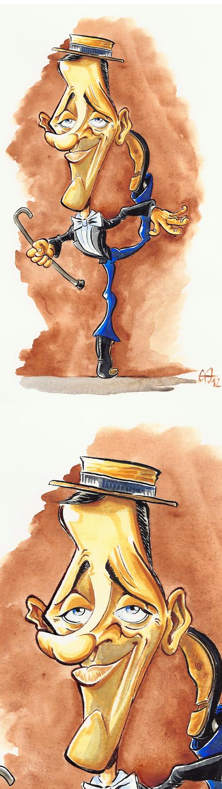 Caricature de Fred Astaire à l'aquarelle par Guillaume Néel