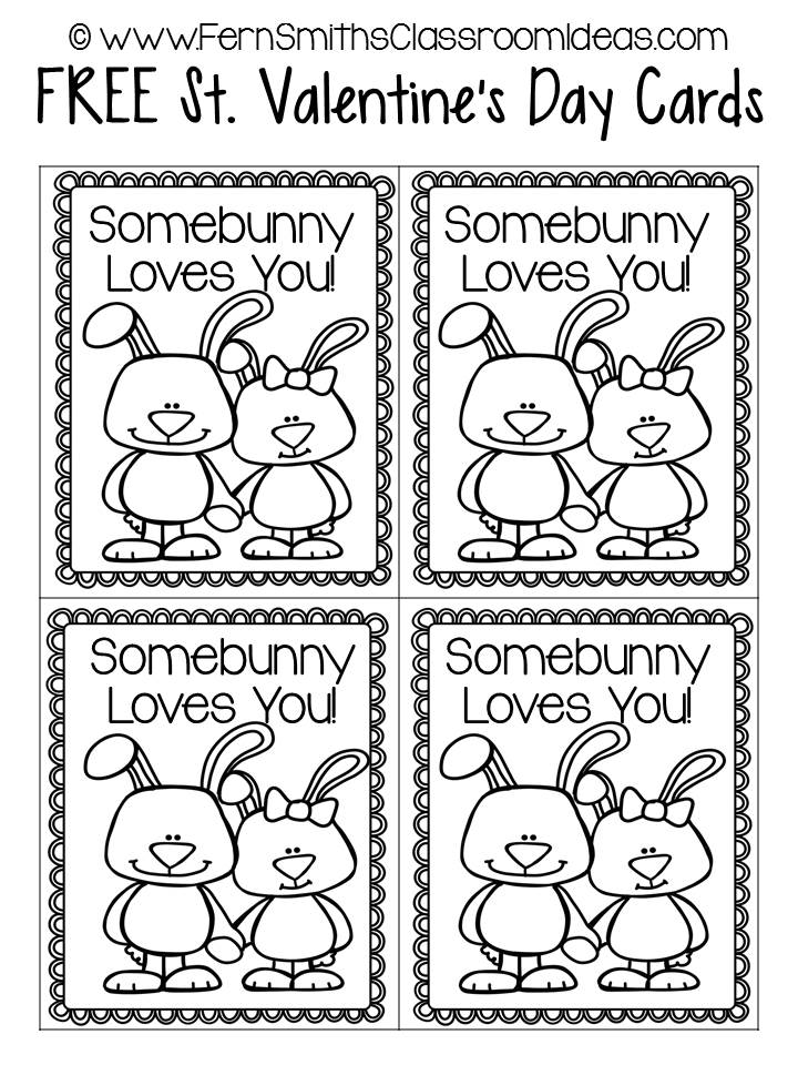 Fern Smith's Classroom Ideas FREE St. Valentine's Day Printable Cards for Your Entire Class