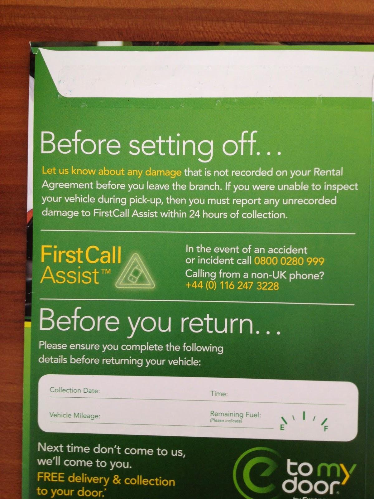 Europcar & Tipoa Car Hire emergency assistance UK number 0800 0280 999
