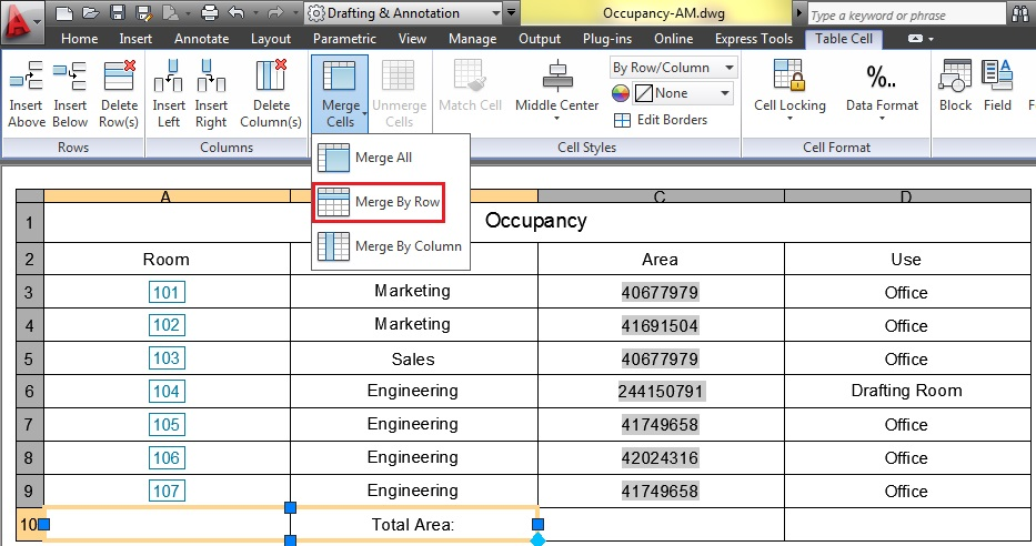 2d for autocad 2013 table creation annotation for Html table merge cells