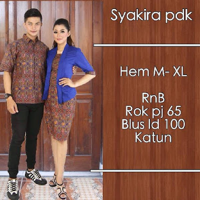 Baju Sarimbit Batik Pasangan Syakira Biru