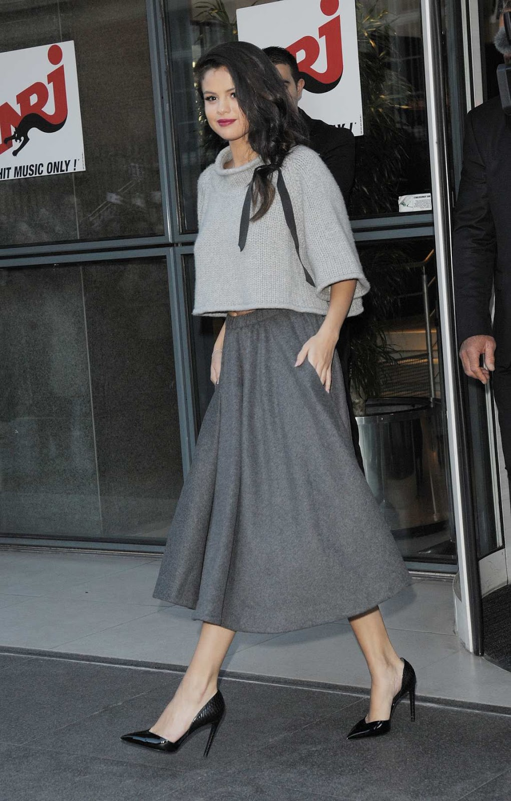 Selena Gomez in a skirt out and about in Paris