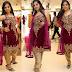 Maroon Sleeve Less Velvet Salwar