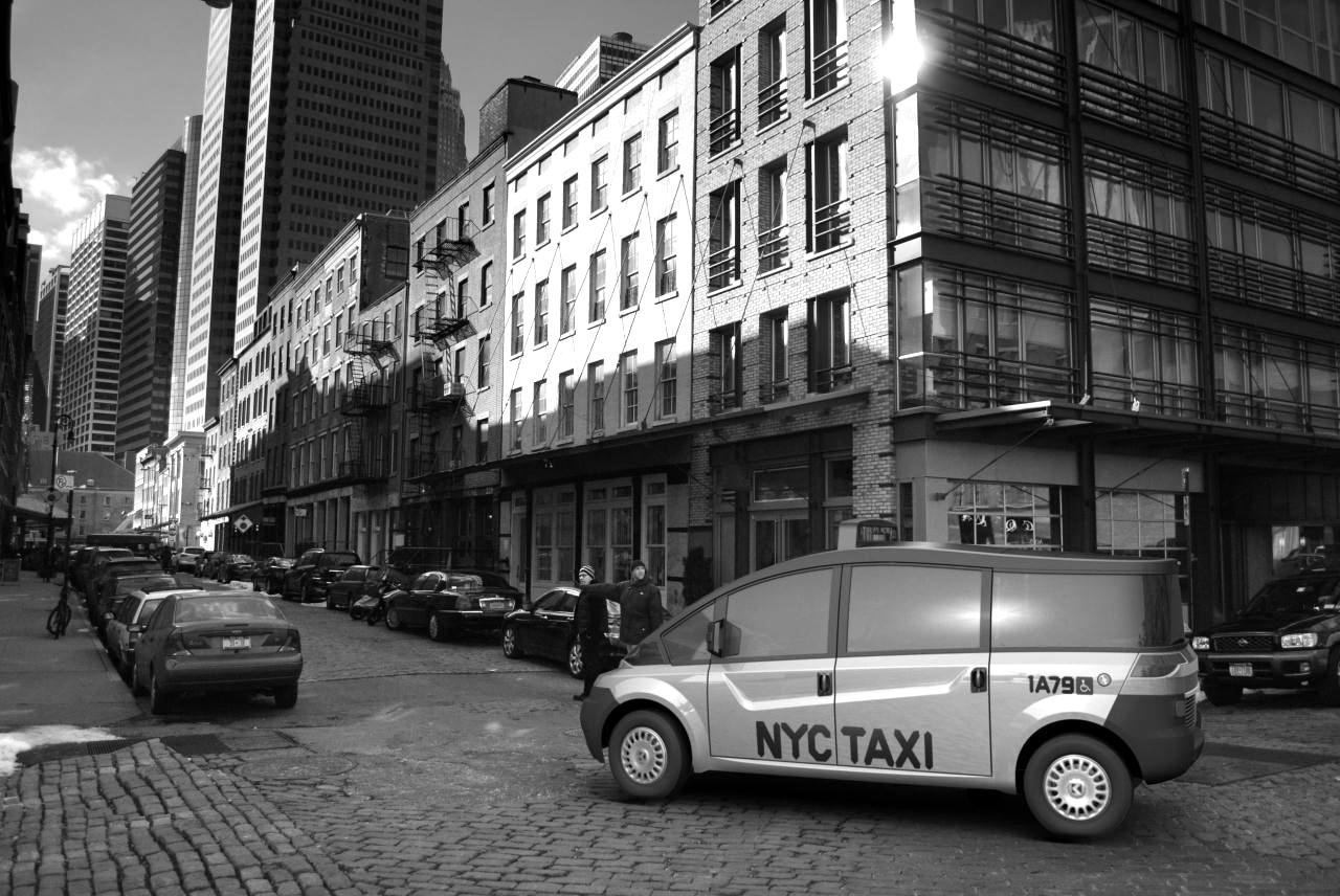 NYC Taxi black and white photography