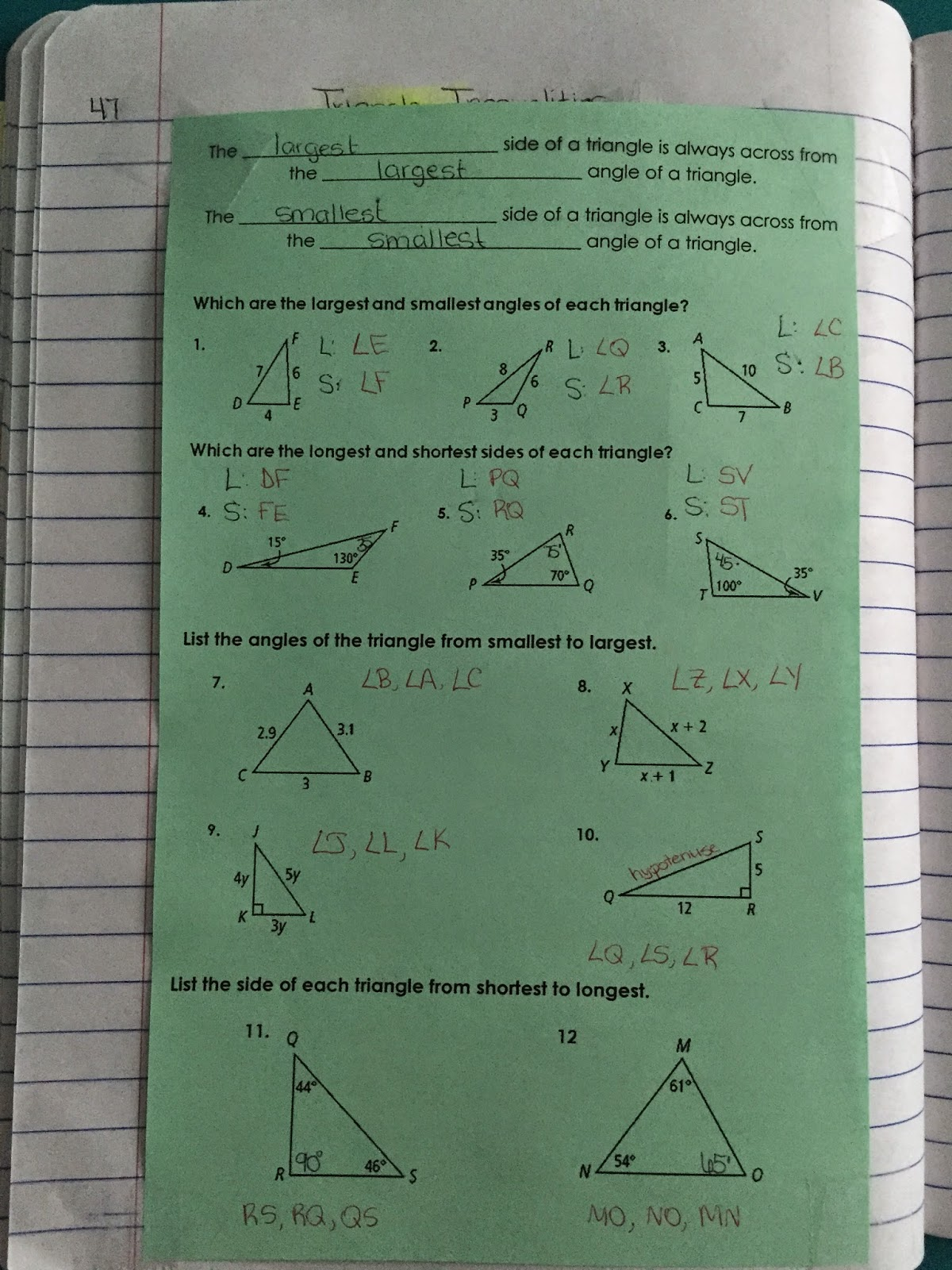 Pg 47 We first used these triangles for this investigation . I used ...