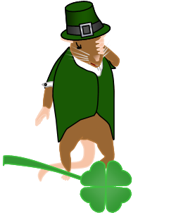 Image: Frank the mouse holds his forehead in a facepalm, wearing a green tailcoat and a green capotain hat. A shamrock lies on the ground, about the size of Frank's head.