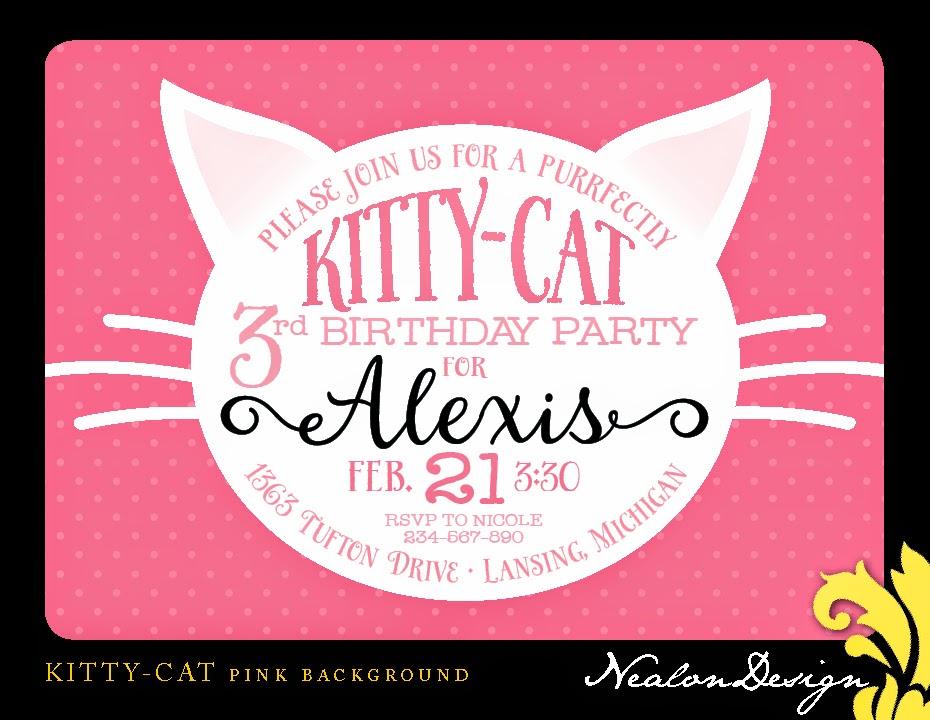 Nealon Design Kitty Cat Birthday Invitation