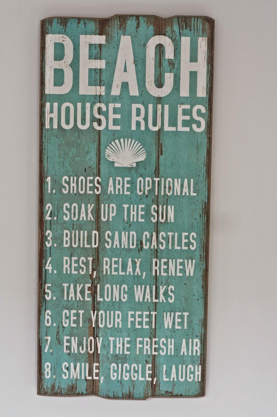 Interior Board Beach House Rules