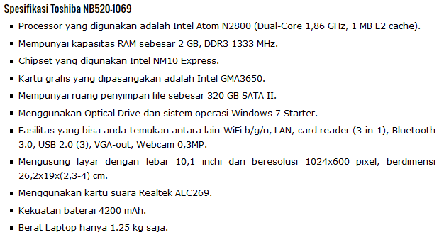 Spesifikasi Laptop Toshiba NB520-1069