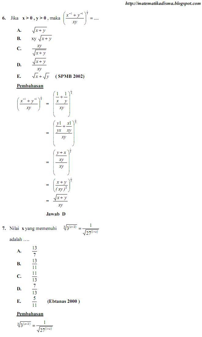 Os2kangkung Soal Dan Pemb Un Matematika Bab Bentuk Pangkat Akar Dan Logaritma