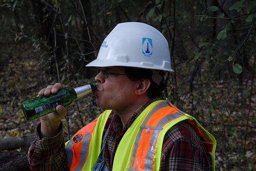 Union Worker Drinking on the Job site