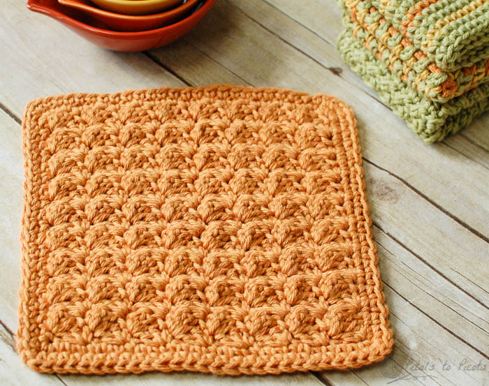 Crochet Patterns Dishcloths Free : Textured Crochet Dishcloth from Petals to Picots
