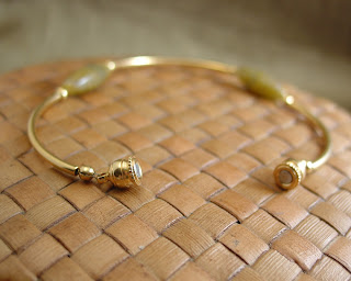 gold plated and shell bead bracelet with magnetic clasp