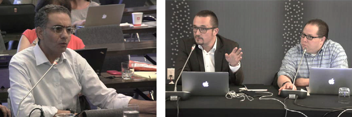 Photos: ICANN CEO Fadi Chehade (above left) appears incredulous when CCWG Co-chair Thomas Rickert (above center)  does not allow Fadi's slide be shown during the CCWG meeting