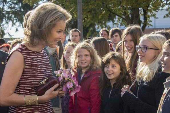 Queen Mathilde Visited Campus D'Hek In Landen