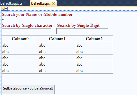 How to write code for search engine in asp net