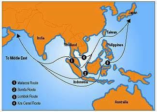 Schiff Routen Asien