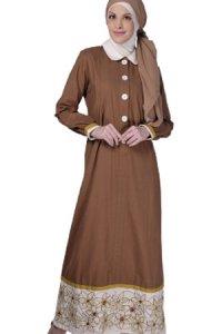 Manet Gamis - 3185 Coklat (Toko Jilbab dan Busana Muslimah Terbaru)