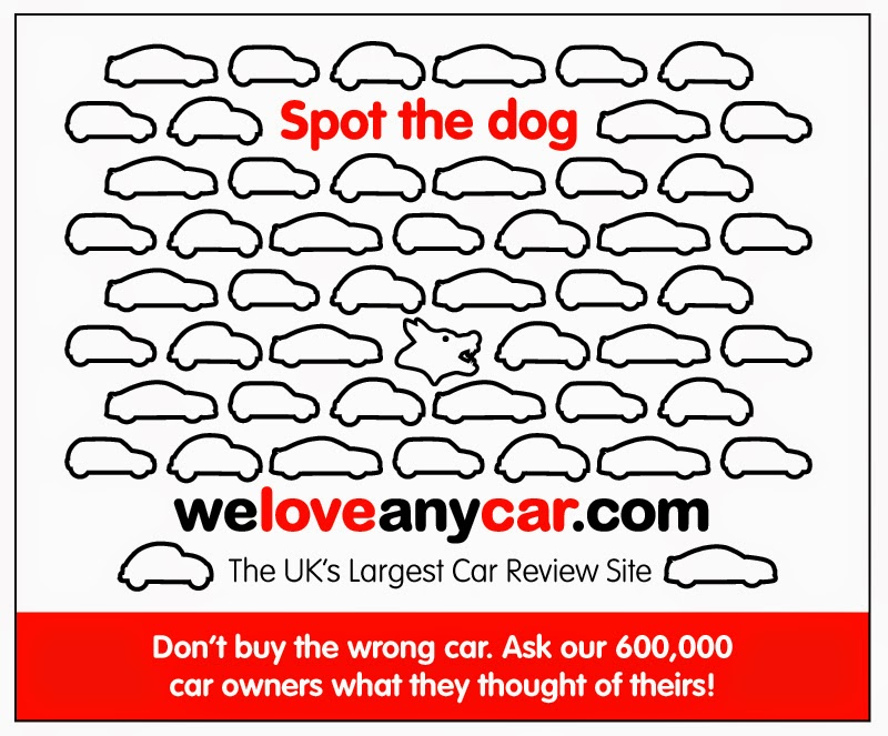 Picture showing lots of cars illustrations in profile.  An outline of a dog is included to help illustrate the point that, whilst most cars are good, there are a few bad ones and prospective car buyers should use WeLoveAnyCar.com car review to check with owners to see what they thought.