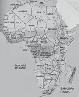 Siapa Letak Luas Batas Benua Afrika Gambar Peta Hitam Putih