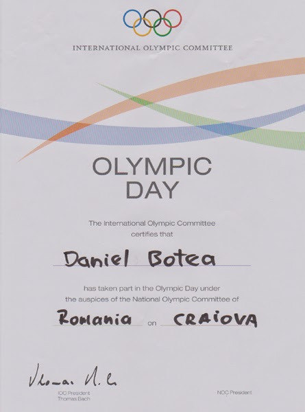 Diploma de participare Olympic Day