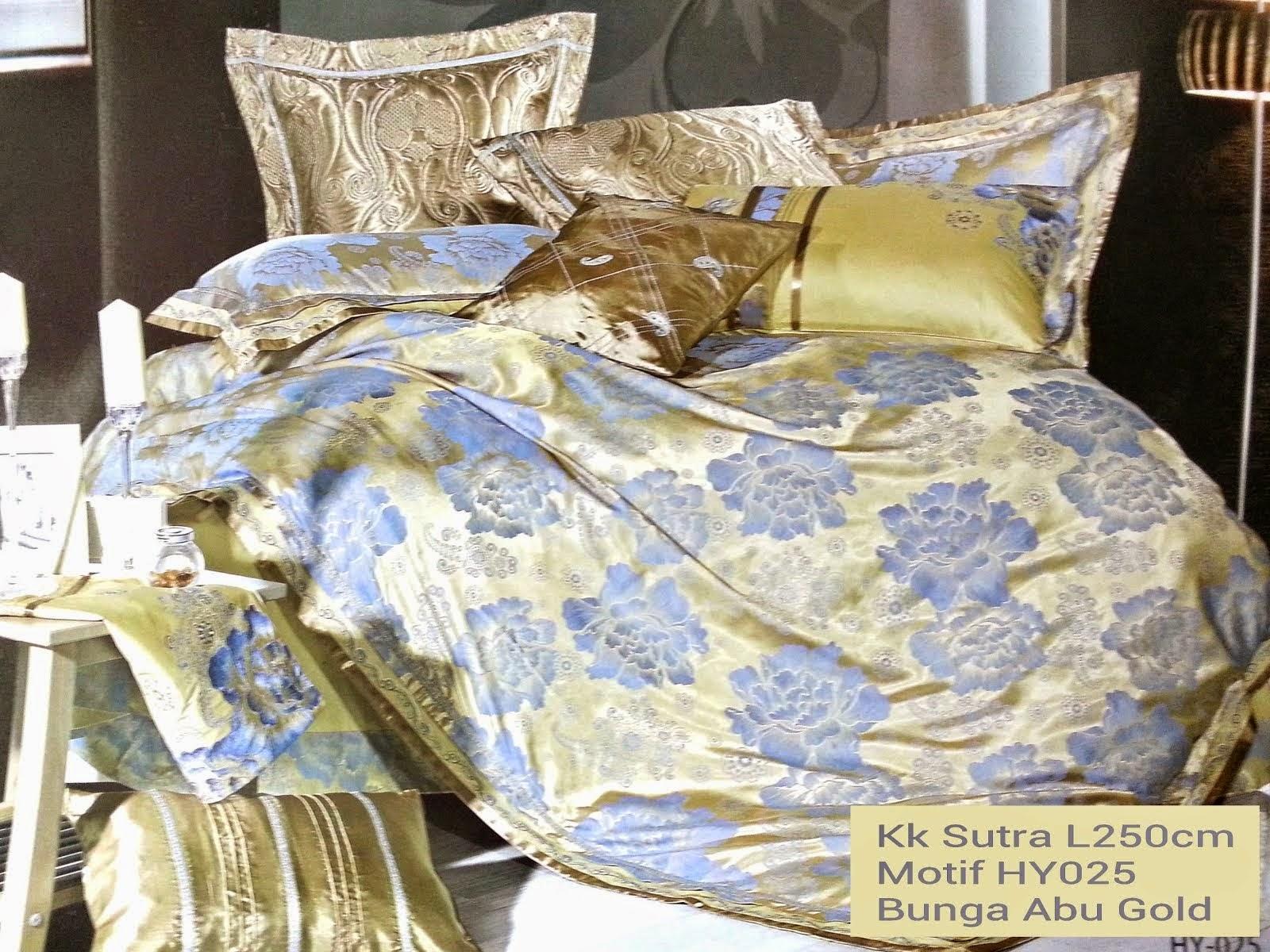 Sprei King Koil Sutra Abu Gold Motif Bunga Galeri Lovina Bedcover