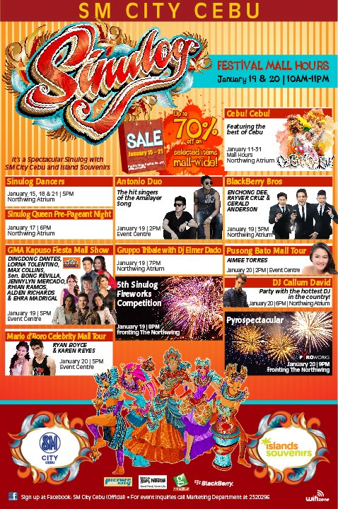 City Cebu Sinulog SALE on Jan. 15 - 23, 2013 . Enjoy up to 70% off on