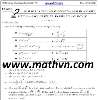 Phân loại Toán 12, Phương pháp giải Toán 12, Giải tích 12 chương 2