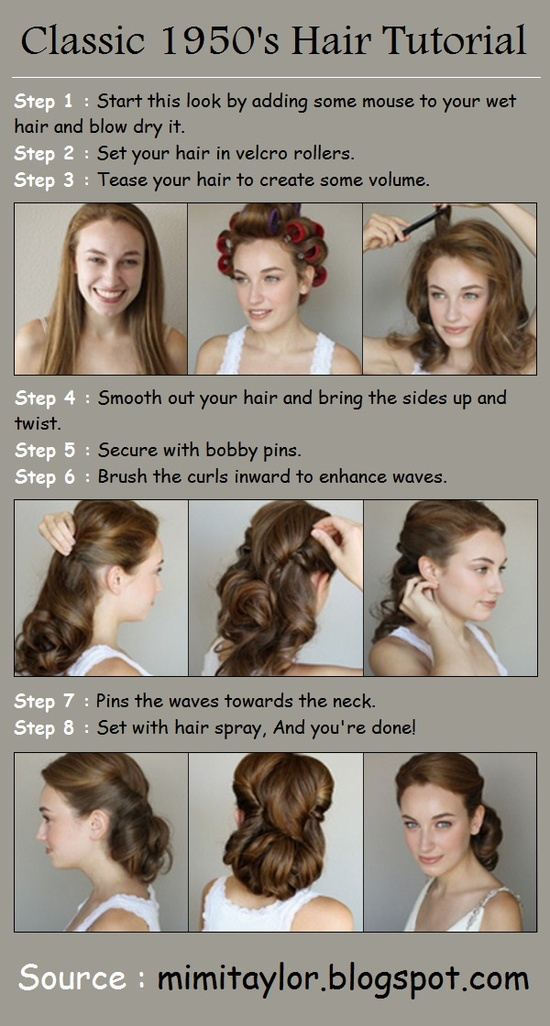 50s pin up hairstyles : Easy 1950s Hairstyles For Long Hair Classic 1950s hair tutorial