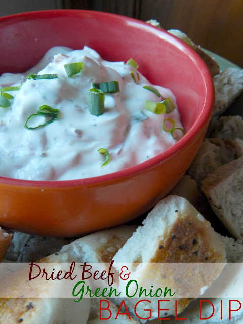dried beef and green onion bagel dip (sweetandsavoryfood.com)