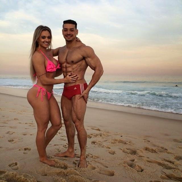 Juju Salimeni ao lado do namorado, o personalt rainer e  fisiculturista Felipe Franco. Foto: Arquivo pessoal