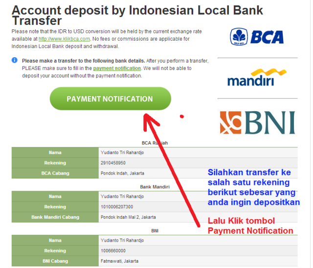 Broker forex indonesia deposit bank lokal